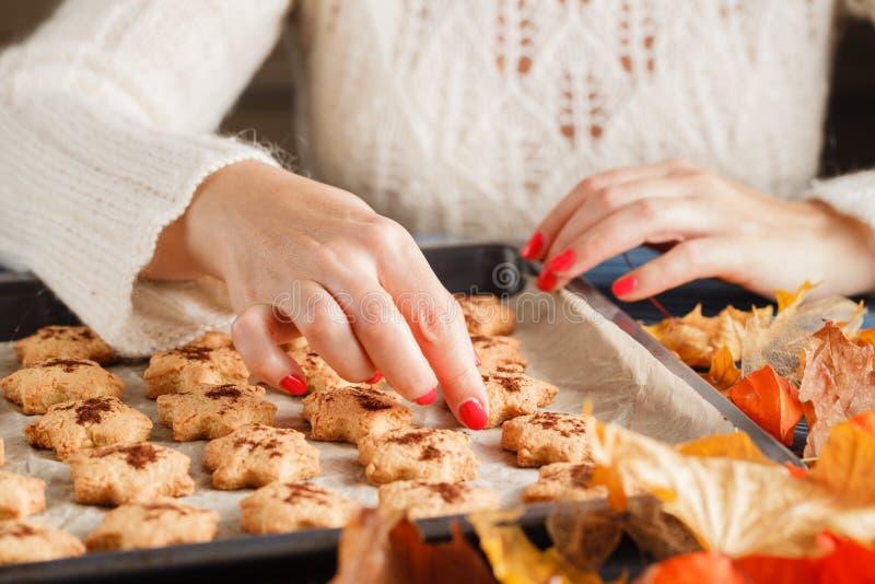 Biscotti casalinghi del pan di zenzero di Halloween sopra fondo di legno immagini stock