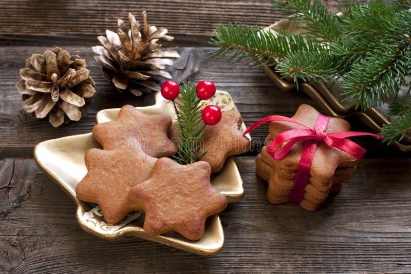 Biscotti casalinghi del pan di zenzero di natale fotografia stock