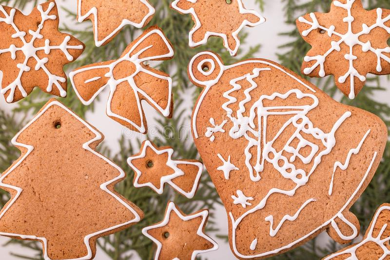 Biscotti casalinghi del pan di zenzero di natale tradizionale immagine stock libera da diritti