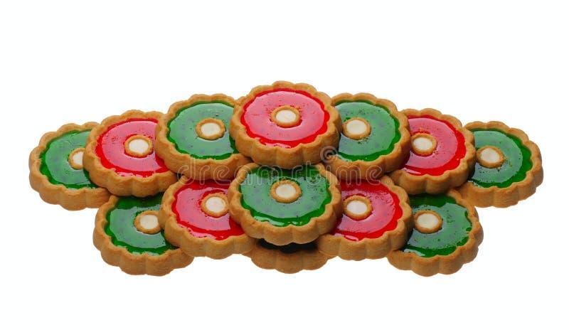 Biscotti con gelatina rossa e verde, isolata fotografie stock libere da diritti