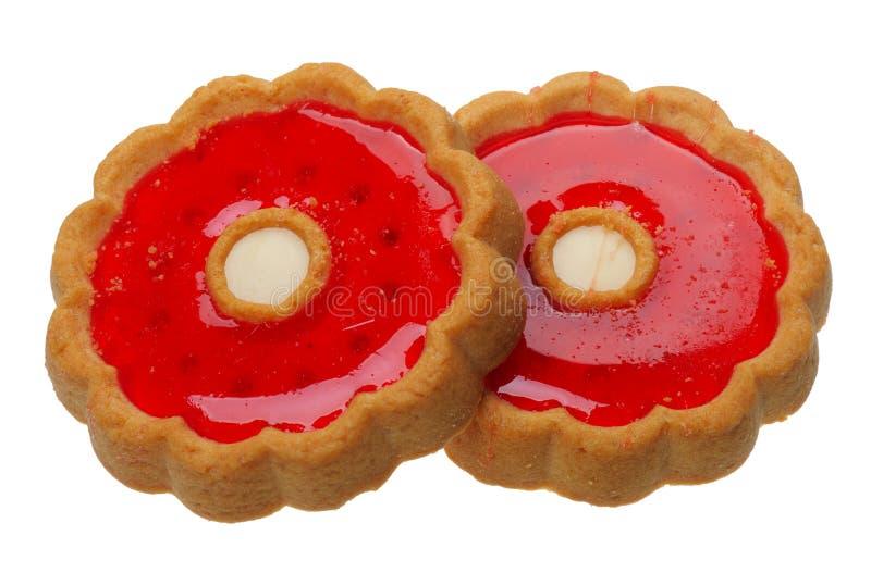 Biscotti con gelatina rossa, isolata fotografia stock