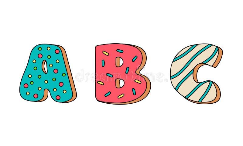 Biscotti con l'insieme variopinto della glassa, alfabeto, isolato, illustrazione di vettore illustrazione di stock