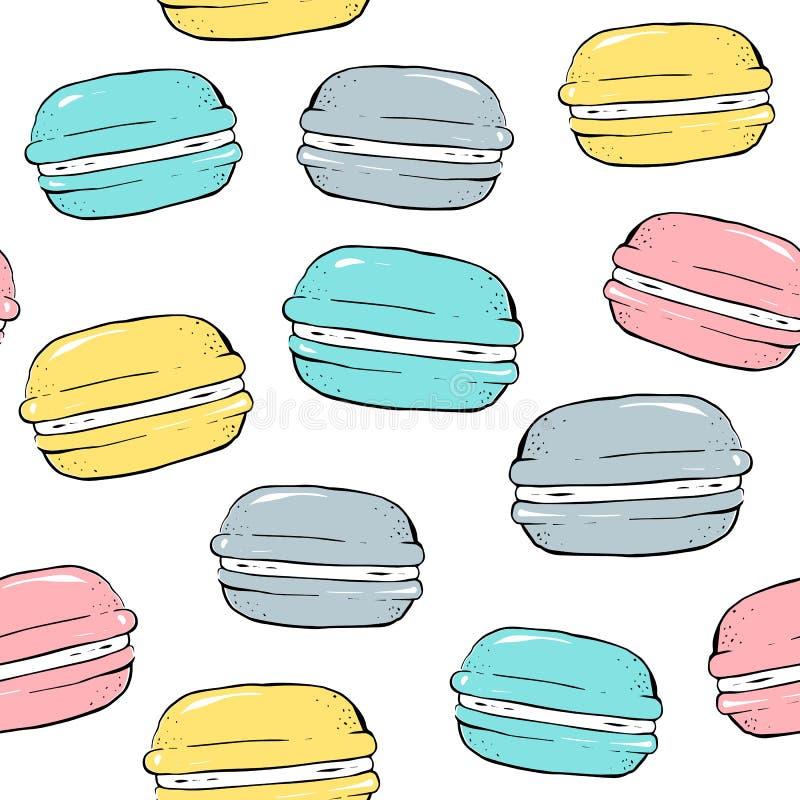 Biscotti del maccherone Vector il reticolo senza giunte Lo stile del fumetto Dissipare a mano royalty illustrazione gratis