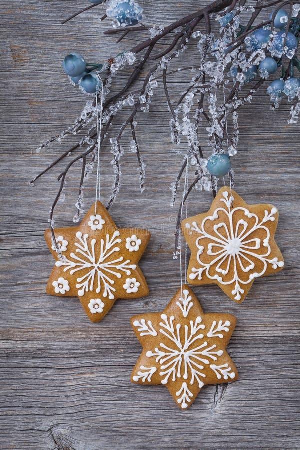 Biscotti del pan di zenzero del fiocco di neve immagine stock