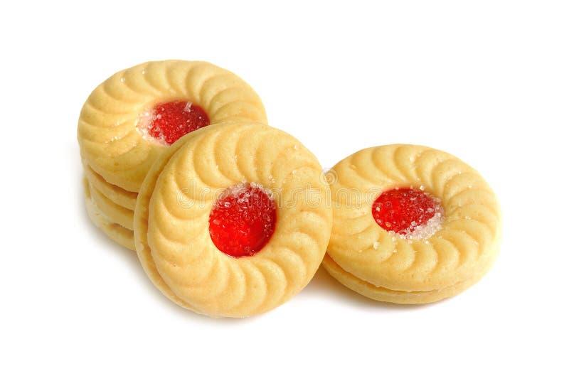 Biscotti del panino con la fragola su fondo bianco immagini stock libere da diritti