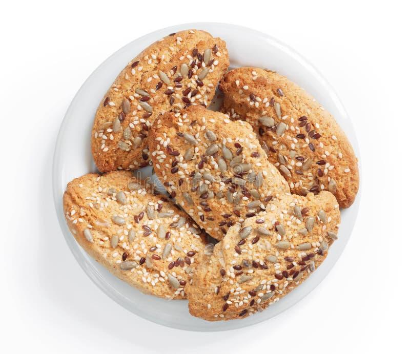 Biscotti dell'avena con i semi fotografie stock libere da diritti