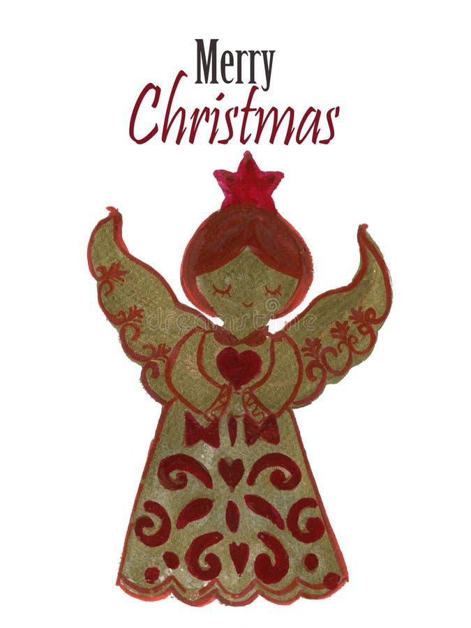 Biscotti di angelo del pan di zenzero di Natale dell'acquerello dipinti a mano illustrazione vettoriale