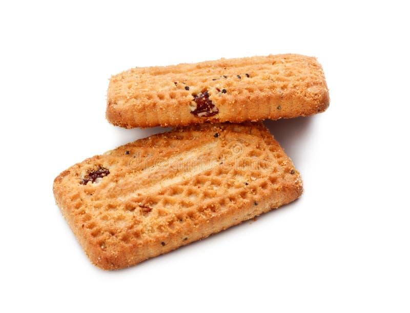 Biscotti di biscotti al burro con l'uva passa fotografie stock