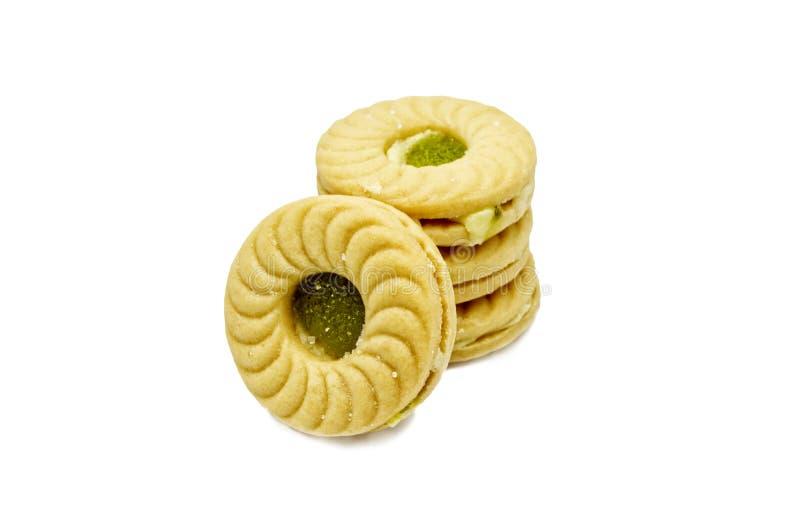 Biscotti di burro del panino del biscotto con crema e kiwi ed inceppamento aromatizzato Apple fotografia stock libera da diritti