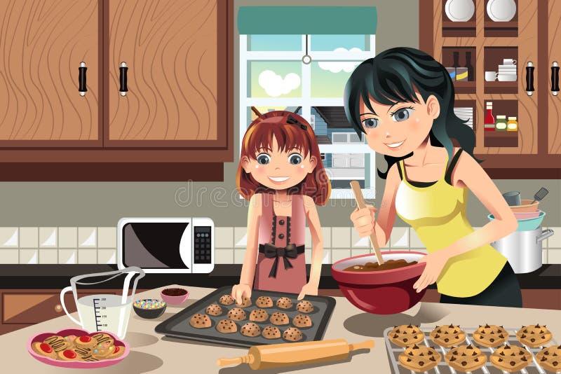 Biscotti di cottura della figlia della madre illustrazione di stock