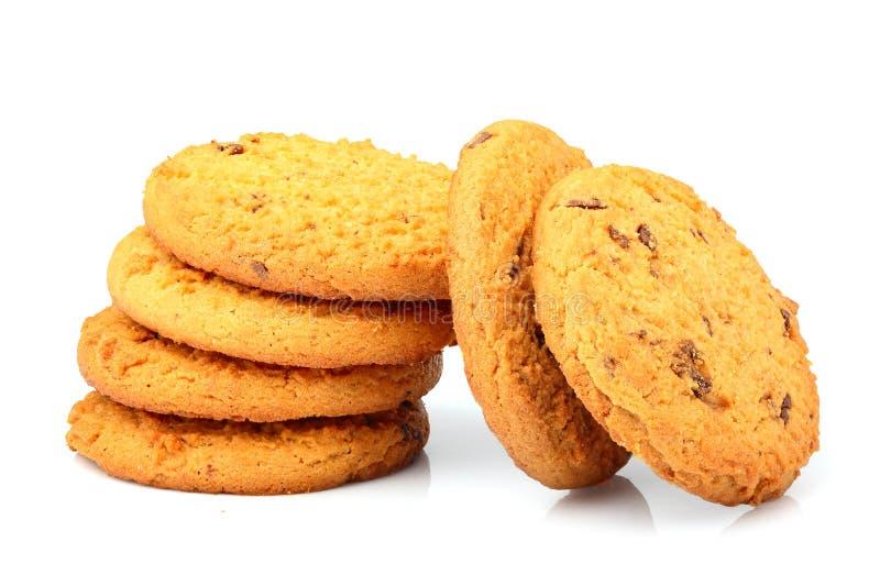 Biscotti di farina d'avena appetitosi con di pepita di cioccolato isolati fotografia stock libera da diritti