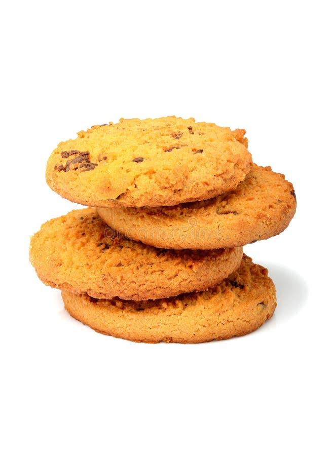 Biscotti di farina d'avena con il primo piano del cioccolato fotografie stock libere da diritti