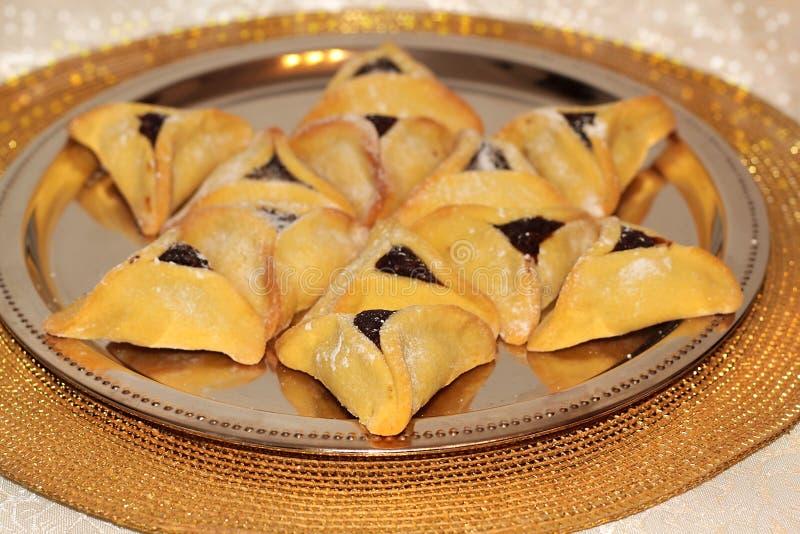 Biscotti di Hamantash per il festival ebreo di Purim fotografie stock