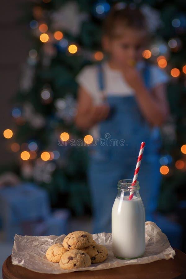 Biscotti di pepita di cioccolato freschi con latte per Santa fotografie stock libere da diritti