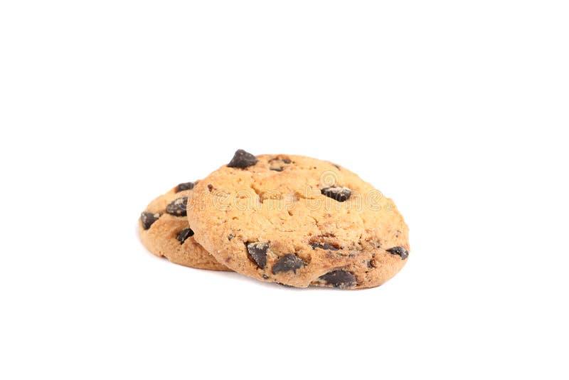 Biscotti di pepita di cioccolato saporiti isolati immagini stock libere da diritti