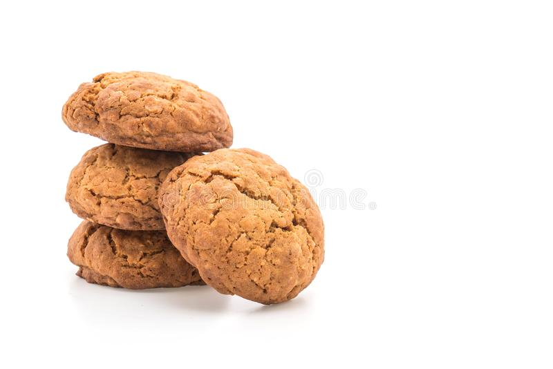Biscotti di uva passa della farina d'avena su bianco fotografia stock libera da diritti