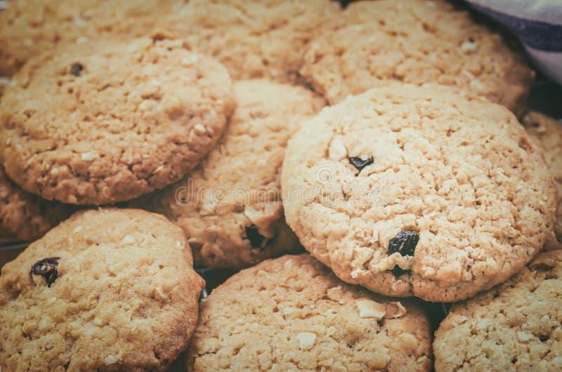 Biscotti di uva passa e della farina d'avena fotografie stock libere da diritti