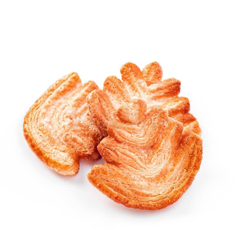 Biscotti di zucchero dell'albero di Natale, pasta sfoglia su fondo bianco fotografia stock
