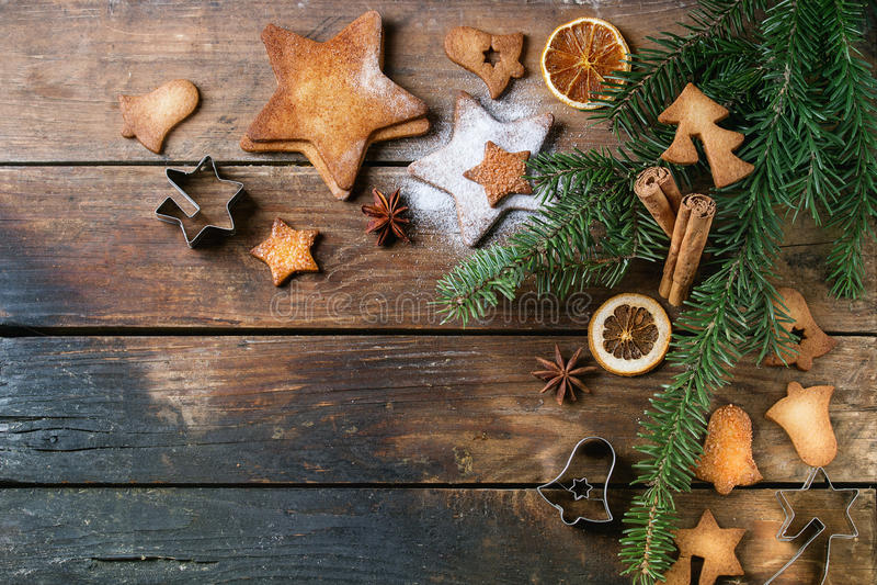 Biscotti di zucchero di forma della stella di biscotto al burro immagine stock