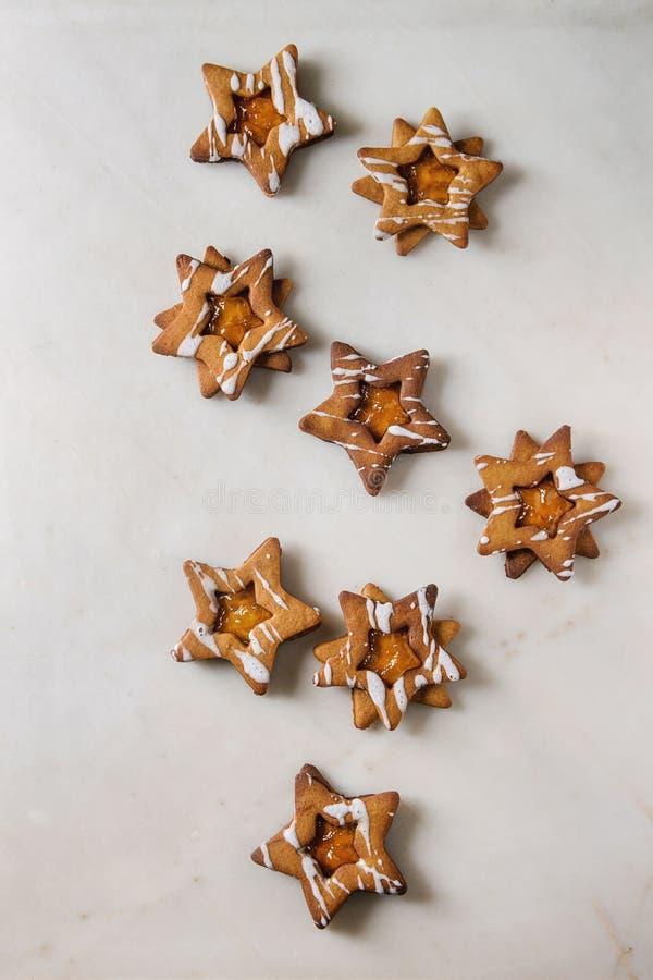Biscotti di zucchero di forma della stella di Natale fotografia stock libera da diritti