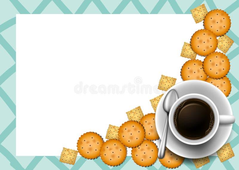 Biscotti e caffè sul confine illustrazione vettoriale