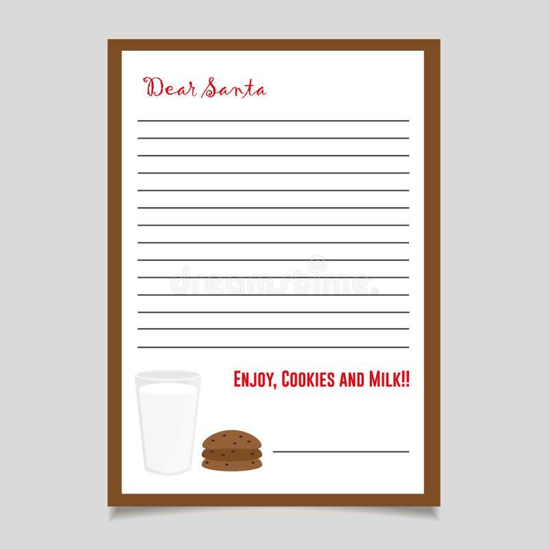 Biscotti e latte della lettera di Natale Cara Santa Christmas List fotografie stock libere da diritti