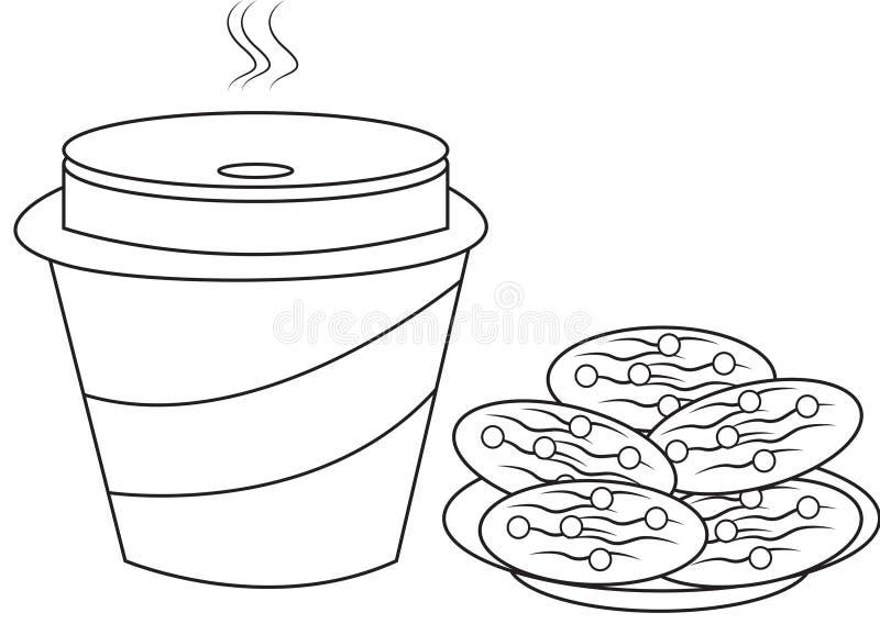 Biscotti e pagina di coloritura del latte illustrazione vettoriale