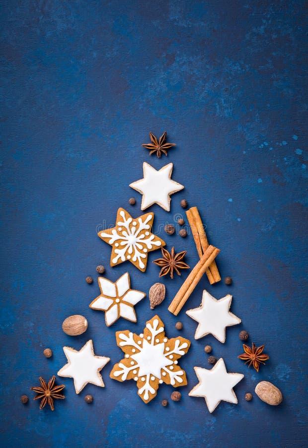 Biscotti e spezie di Natale sopra il blu fotografia stock