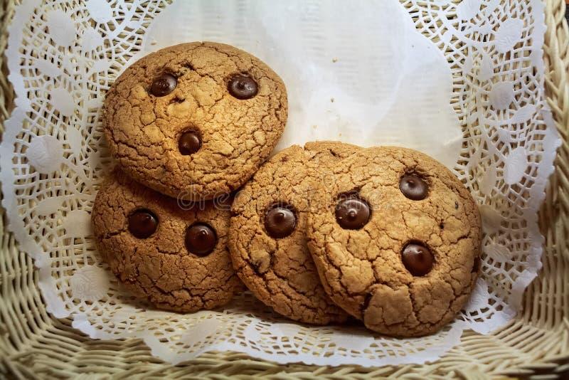 Biscotti fatti domestici freschi dell'avena alto vicino immagini stock libere da diritti