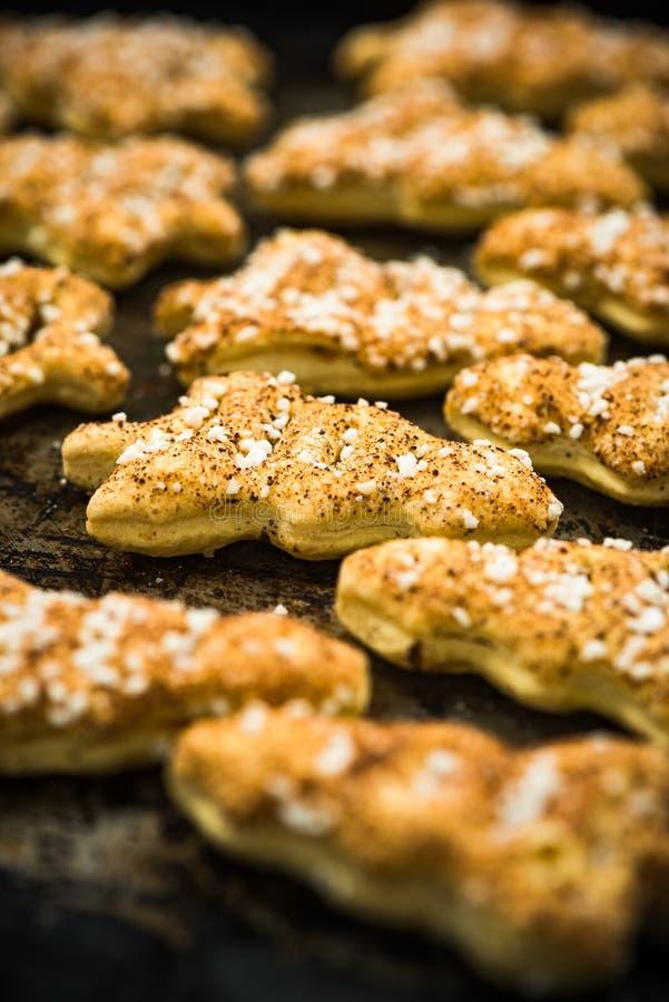 Biscotti festivi casalinghi freschi di Owen fotografia stock libera da diritti