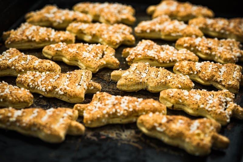 Biscotti festivi casalinghi freschi di Owen fotografie stock libere da diritti