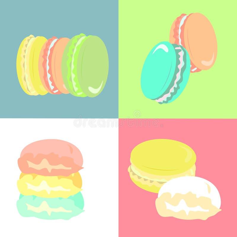 Biscotti francesi rassodati dei maccheroni su fondo multicolore illustrazione di stock