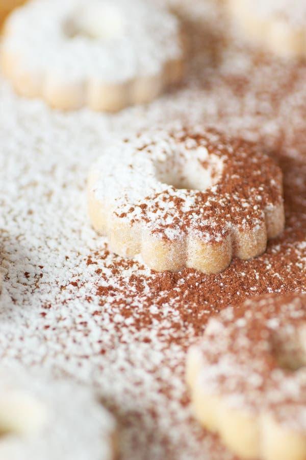 Biscotti italiani di canestrelli spruzzati con zucchero e cacao in polvere immagini stock