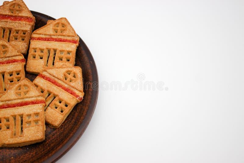 Biscotti meravigliosi e deliziosi con marmellata d'arance sotto forma di Camera di uno piani Copi lo spazio fotografia stock