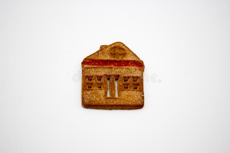 Biscotti meravigliosi e deliziosi con marmellata d'arance sotto forma di Camera di uno piani fotografia stock