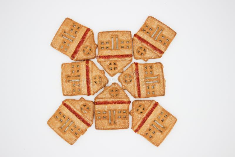 Biscotti meravigliosi e deliziosi con marmellata d'arance sotto forma di Camera di uno piani fotografie stock libere da diritti