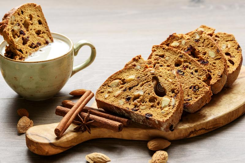 Biscotti with nuts and cranberries. Selective focus stock images
