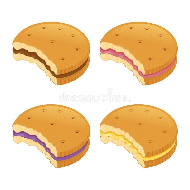 Biscotti pungenti con vario sapore crema illustrazione di stock