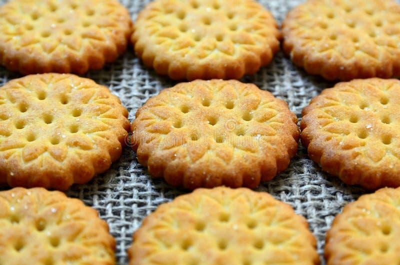 Biscotti salati deliziosi rotondi dei cracker su un panno della tela da imballaggio come fondo Cottura croccante Concetto classic fotografia stock