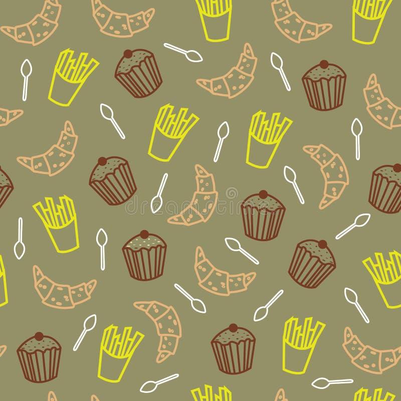 Biscotti svegli e l'altro modello senza cuciture dei prodotti alimentari royalty illustrazione gratis