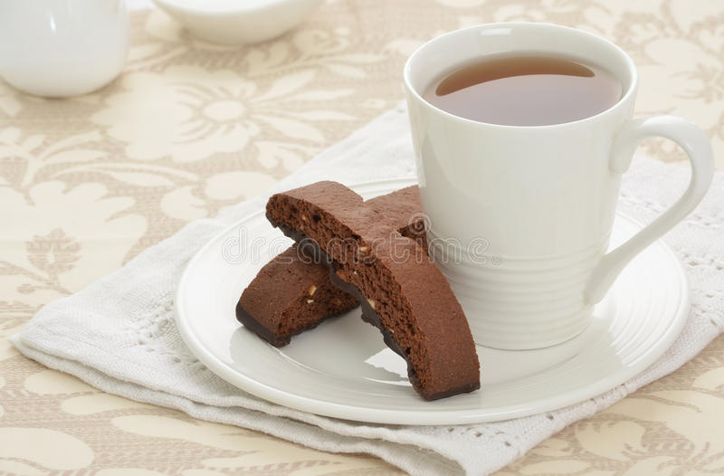 Biscotti With Tea Stock Images
