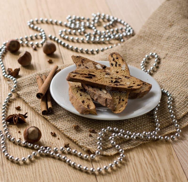 Biscotti - traditional Italian Christmas sweet. Traditional Italian biscotti cookies. Christmas sweet stock photography