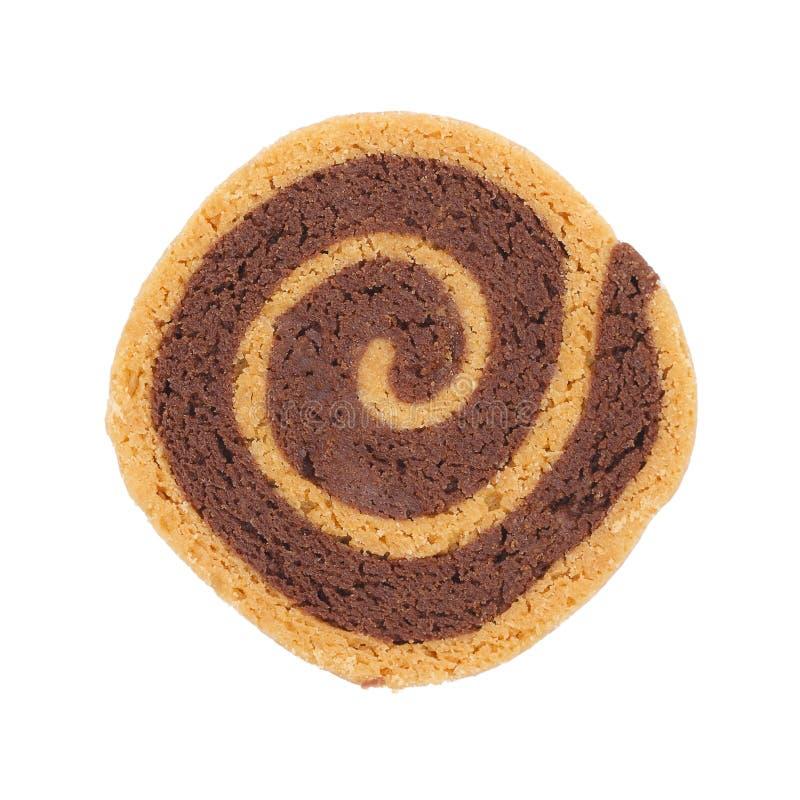 Biscotto del cioccolato del cerchio isolato su bianco fotografia stock