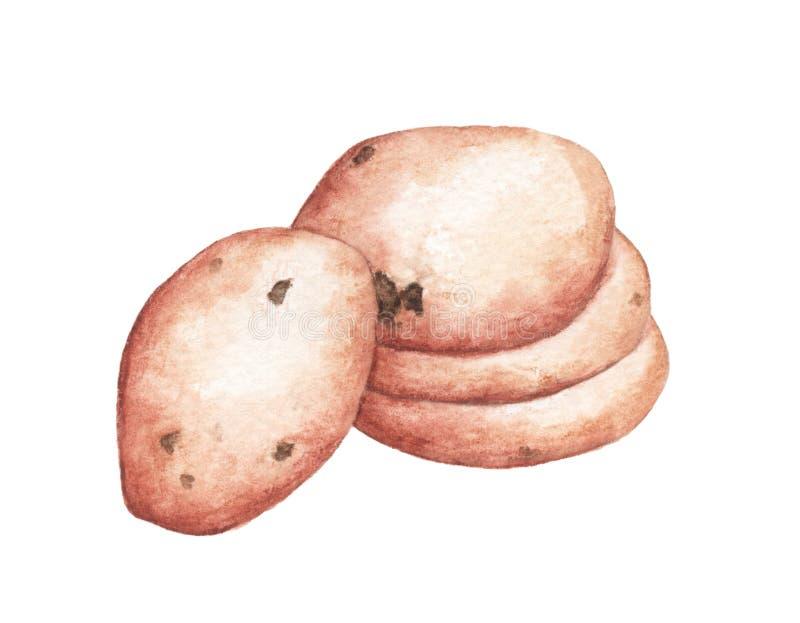 Biscotto delizioso dell'acquerello disegnato a mano con le gocce di cioccolato illustrazione di stock