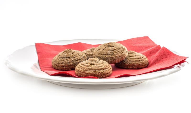Biscotto dell'avena del cacao isolato su bianco immagini stock libere da diritti