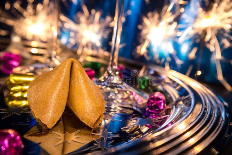 Biscotto di fortuna sulla notte di San Silvestro fotografia stock