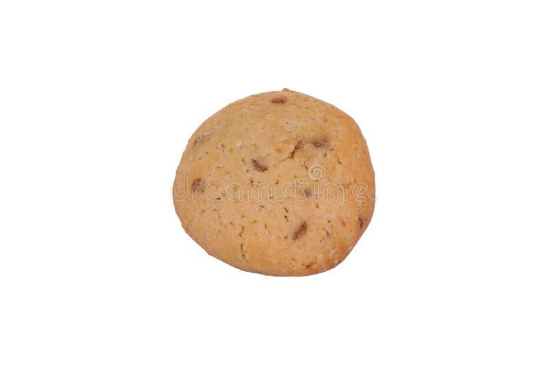Biscotto di pepita di cioccolato casalingo isolato su fondo bianco Biscotto dolce fotografia stock libera da diritti