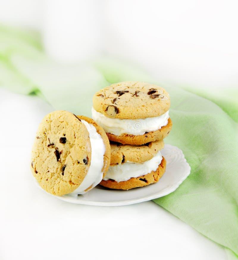 Biscotto di pepita di cioccolato e panini del gelato immagini stock libere da diritti