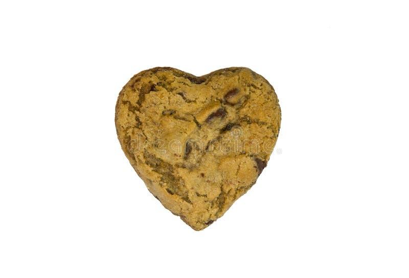 Biscotto di pepita di cioccolato shapped cuore immagini stock
