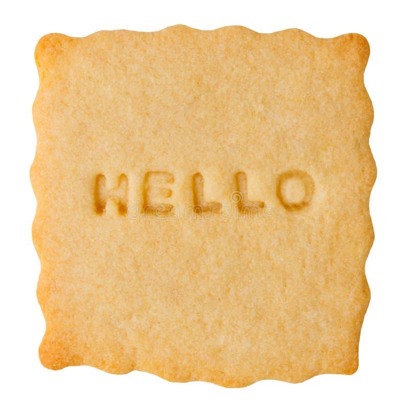 Biscuit avec BONJOUR le signe image stock